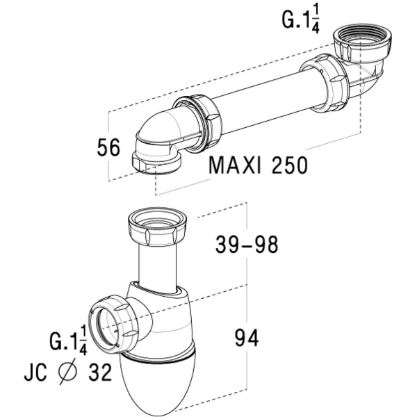siphon de lavabo culot d port 1 1 4 32 mm easyphon nicoll cazabox. Black Bedroom Furniture Sets. Home Design Ideas