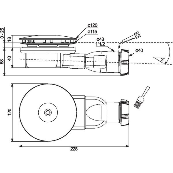 Bonde horizontale pour receveur 90 mm extra plat for Bonde receveur extra plat