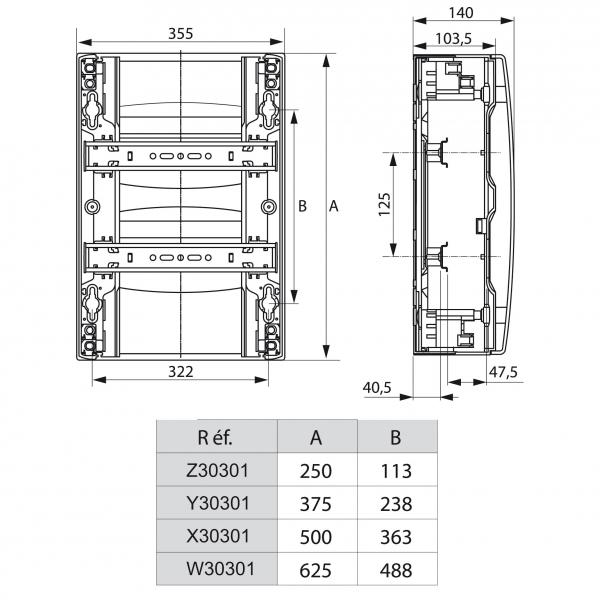 Coffret drivia 18 modules par rang e legrand cazabox - Dimension tableau electrique ...