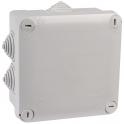Boîte grise carrée - 105 mm - 7 embouts à gradins - Couvercle enclipsable - Plexo - Legrand