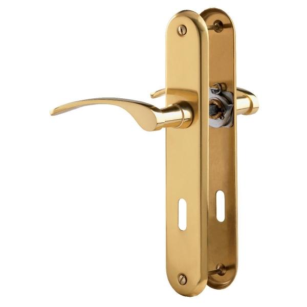 Poign e de porte sur plaque laiton poli cl l clara vachette cazabox - Poignee de porte laiton ...