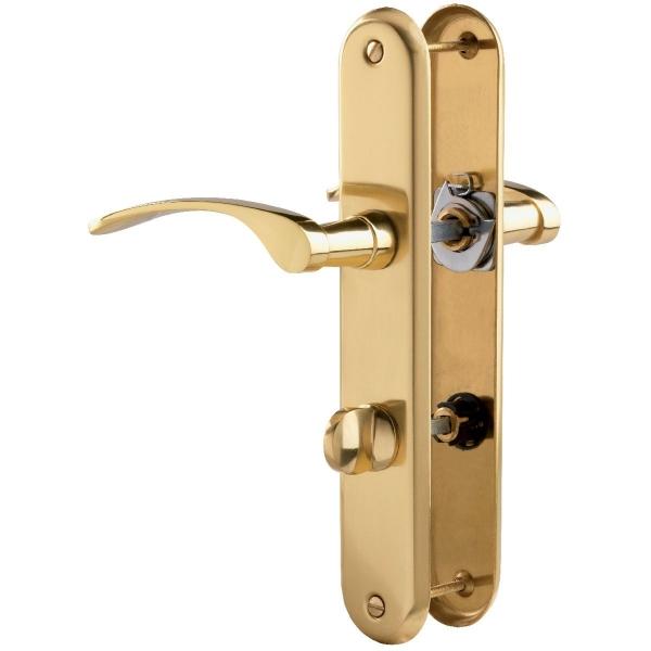 Poign e de porte sur plaque laiton poli condamnation - Plaque poignee de porte ...