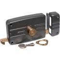 Serrure en applique noire droite à Tirage - Clé I - Axe à 70 mm - Série 5G - Iséo
