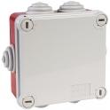 Boîte rouge/grise carrée - 100 mm - 6 embouts à gradins - Couvercle vis 1/4 de tour - Gewiss