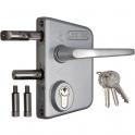 Serrure de portail en applique argent - Clé I - Axe à 30 mm - Profil 60 à 80 mm - LAKQ - Locinox