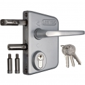 Serrure de portail en applique argent - Clé I - Axe à 30 mm - Profil 40 à 60 mm - LAKQ - Locinox