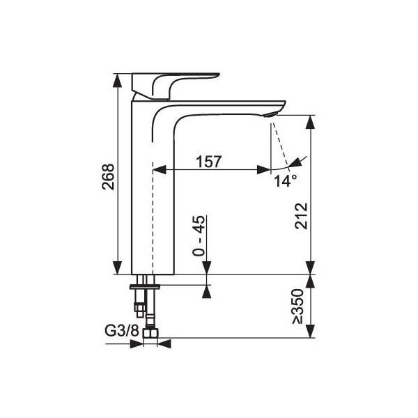 mitigeur lavabo haut avec bonde de vidage aleo jacob delafon cazabox. Black Bedroom Furniture Sets. Home Design Ideas