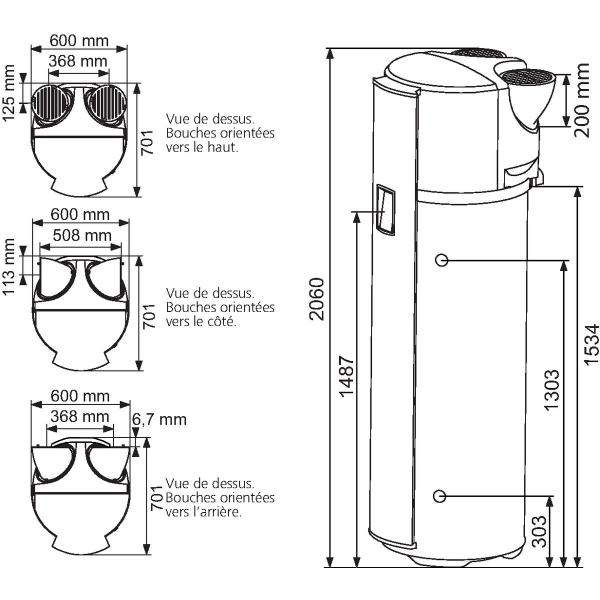 Chauffe eau odyss e pilotage intelligent 270l monophas 1800 w atlantic - Chauffe eau temperature recommandee ...