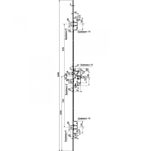 serrure multipoint bronze gauche fouillot cl i axe 50 mm trilock 5000 a2p vachette. Black Bedroom Furniture Sets. Home Design Ideas