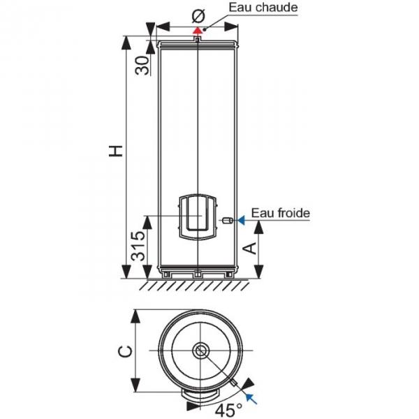 Chauffe eau chauffeo plus 300l sur socle monophas 3000 w atlantic cazabox - Chauffe eau plus d eau chaude ...
