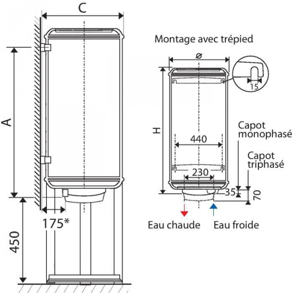 chauffe eau chauff o 50 l mural vertical monophas 1200 w atlantic cazabox. Black Bedroom Furniture Sets. Home Design Ideas