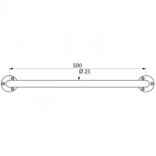 Barre d 39 appui droite inox poli brillant 500 mm 25 mm - Barre d ecartement ...