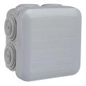 Boîte grise carrée - 105 mm - 6 embouts - Couvercle vis 1/4 de tour - Plexo - Legrand
