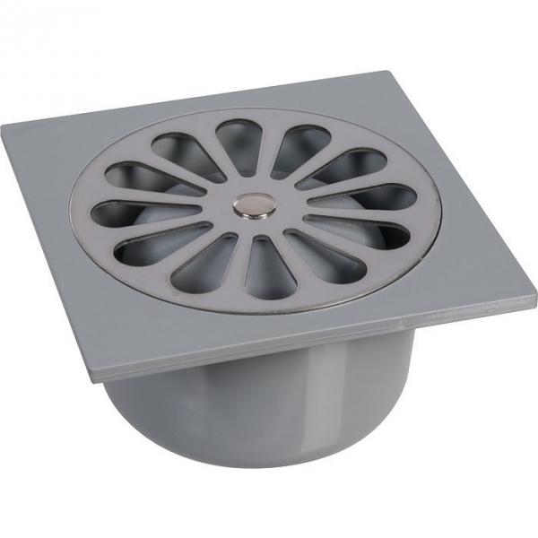 siphon de sol pvc gris 140 x 140 mm grandsire cazabox. Black Bedroom Furniture Sets. Home Design Ideas