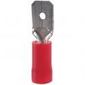 Cosse PVC rouge plate mâle  isolé - Section 1,5 - 2,5 mm² - Vendu par 100 - Klauke