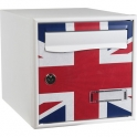 Boîte aux lettres blanche simple face motif drapeau anglais - Stylis - Decayeux
