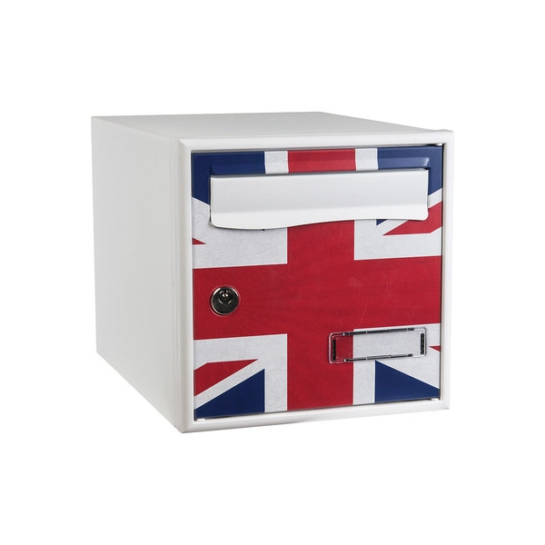 bo te aux lettres blanche simple face motif drapeau anglais stylis decayeux cazabox. Black Bedroom Furniture Sets. Home Design Ideas