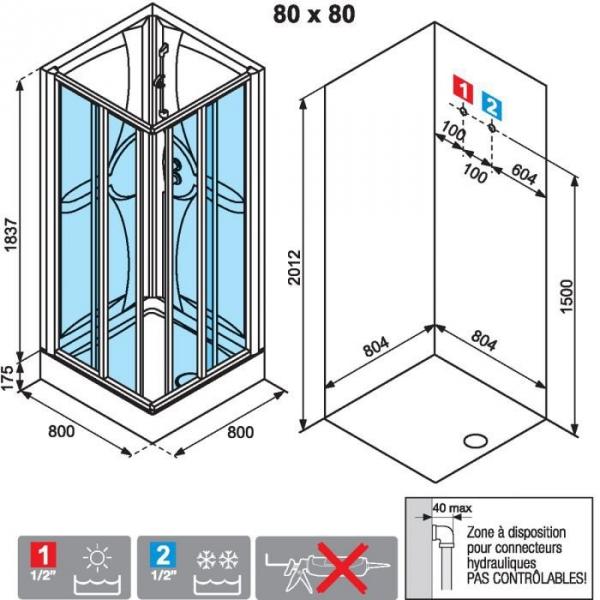 Cabine de douche carr e portes coulissantes transparentes 80 x 80 cm m di - Notice cabine de douche ...