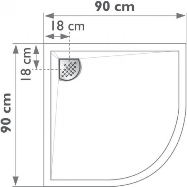 Receveur de douche quart de rond blanc 90 x 90 cm for Table quart de rond