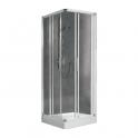 Porte de douche coulissante d'angle verre sérigraphié - 4 ventaux - 780 à 810 mm - Lunes A - Novellini