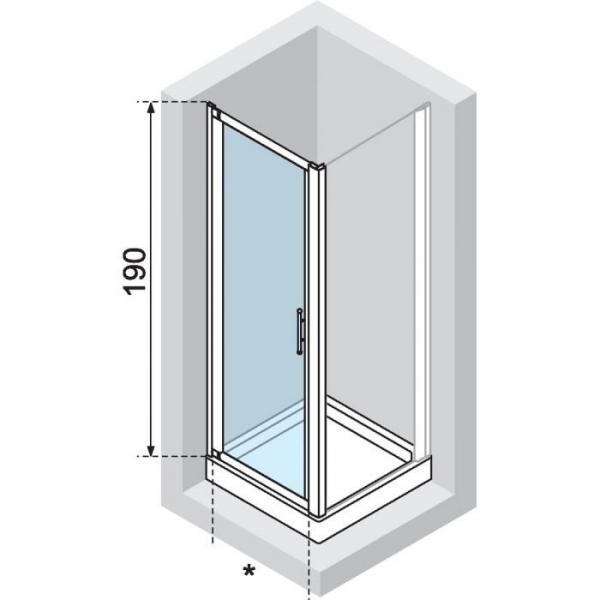 Porte de douche pivotante verre s rigraphi 1 ventail for Porte douche novellini