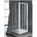 Porte de douche coulissante verre brossé - 3 ventaux - 960 à 1020 mm - Lunes P - Novellini