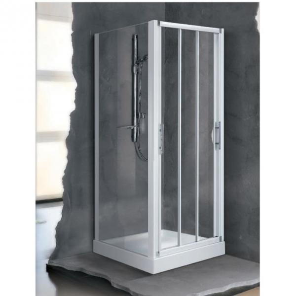 Porte de douche coulissante verre bross 3 ventaux 960 for Porte douche novellini