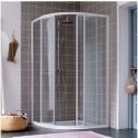 Porte de douche quart de rond coulissante verre transparent - 4 ventaux - 875 à 8900 mm - Atout 2 - Leda