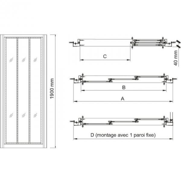 Porte de douche coulissante verre transparent 3 vantaux for Porte de douche leda