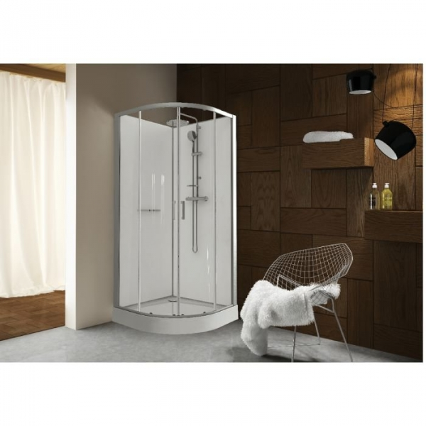 Cabine de douche quart de rond portes coulissantes for Meuble quart de rond
