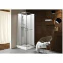 Cabine de douche carrée portes coulissantes granitées - 90 x 90 cm - Kara - Leda