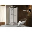 Cabine de douche carrée porte pivotante transparente - 90 x 90 cm - Kara - Leda