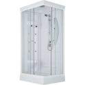 Cabine de douche rectangulaire portes coulissantes transparentes - 100 x 80 cm - Odyssée - Leda