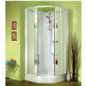 Cabine de douche quart de rond portes coulissantes granitées - 90 x 90 cm - Izi Box - Leda