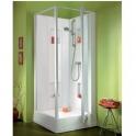 Cabine de douche carrée porte pivotante granitées - 90 x 90 cm - Izi Box - Leda
