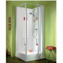 Cabine de douche carrée porte pivotante transparente - 90 x 90 cm - Izi Box - Leda
