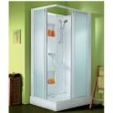 Cabine de douche rectangulaire portes coulissantes transparentes - 100 x 80 cm - Izi Box - Leda