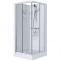 Cabine de douche carrée portes coulissantes granitées - 80 x 80 cm - Izi Glass - Leda
