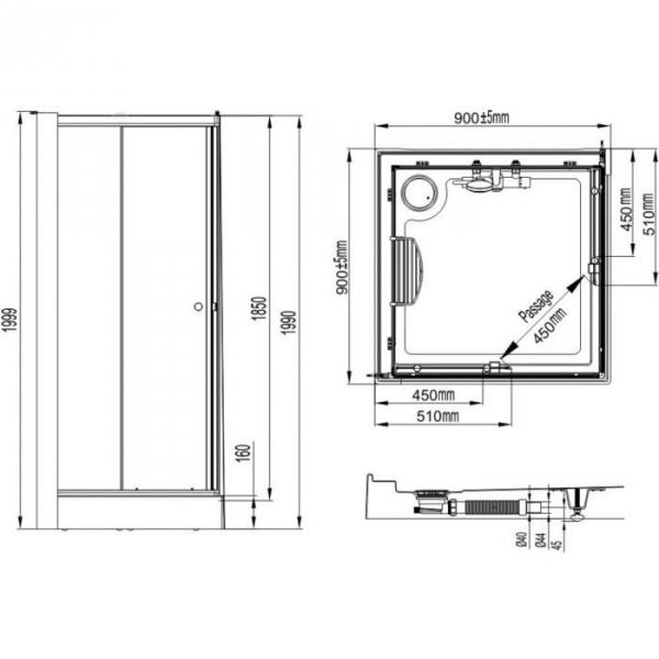 Cabine de douche carr e portes coulissantes granit es 90 for Porte de douche leda
