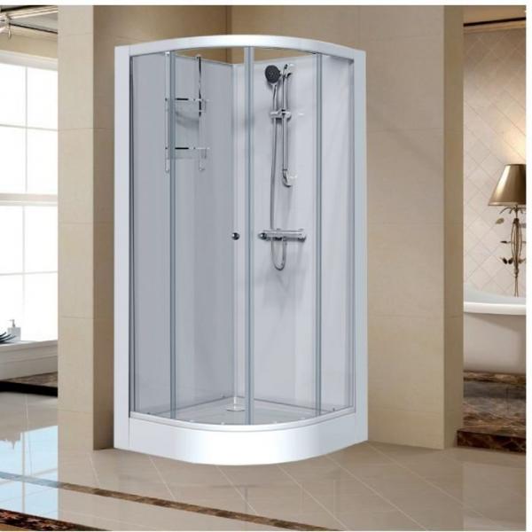 cabine de douche quart de rond portes coulissantes transparentes 90 x 90 cm izi glass leda. Black Bedroom Furniture Sets. Home Design Ideas