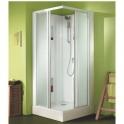 Cabine de douche carrée portes coulissantes granitées - 80 x 80 cm - Izi Box - Leda