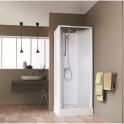 Cabine de douche carrée portes battantes granitées - 80 x 80 cm - Surf 4 - Leda