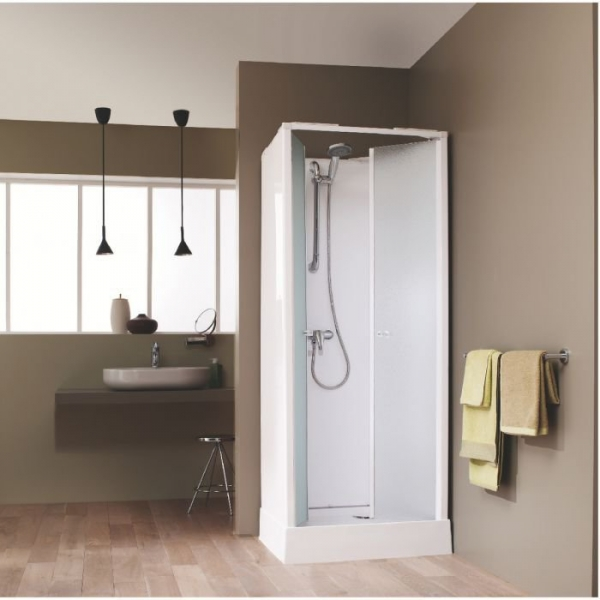 Cabine de douche carr e portes battantes granit es 80 x 80 cm surf 4 leda cazabox for Petite cabine de douche