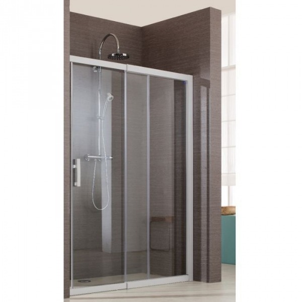 porte de douche coulissante verre transparent 2 vantaux 110 cm jazz douche ouverte leda. Black Bedroom Furniture Sets. Home Design Ideas