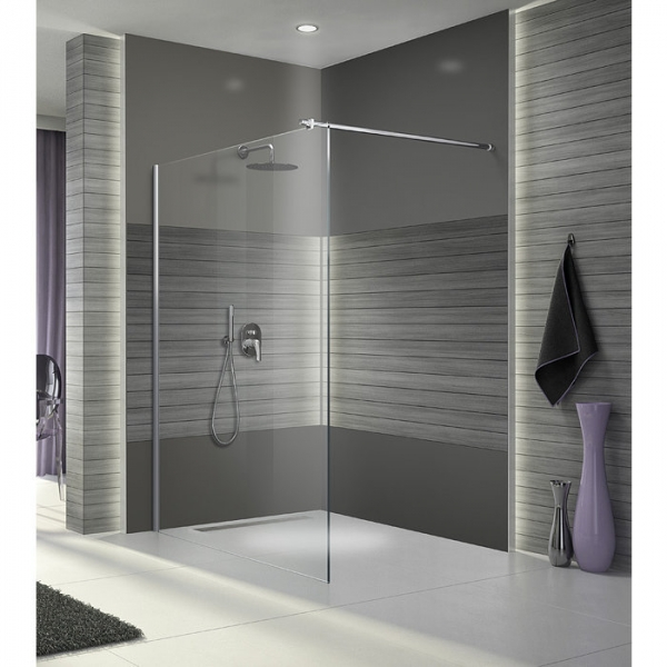 paroi de douche fixe verre transparent 100 cm open 2 leda cazabox. Black Bedroom Furniture Sets. Home Design Ideas