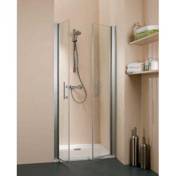 Porte de douche battante verre transparent 2 ventaux 970 1030 mm salo - Porte en verre battante ...
