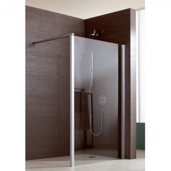 paroi de douche fixe verre transparent 120 cm jazz douche ouverte leda cazabox. Black Bedroom Furniture Sets. Home Design Ideas