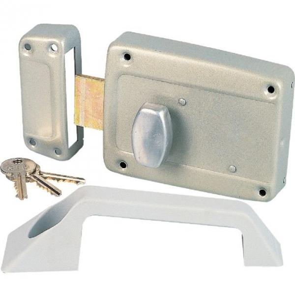 Serrure bouton gauche en applique cl i pour porte for Changer serrure porte garage