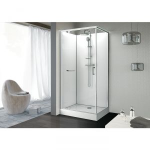 cabine de douche rectangulaire porte pivotante transparente 100 x 80 cm kara leda cazabox. Black Bedroom Furniture Sets. Home Design Ideas