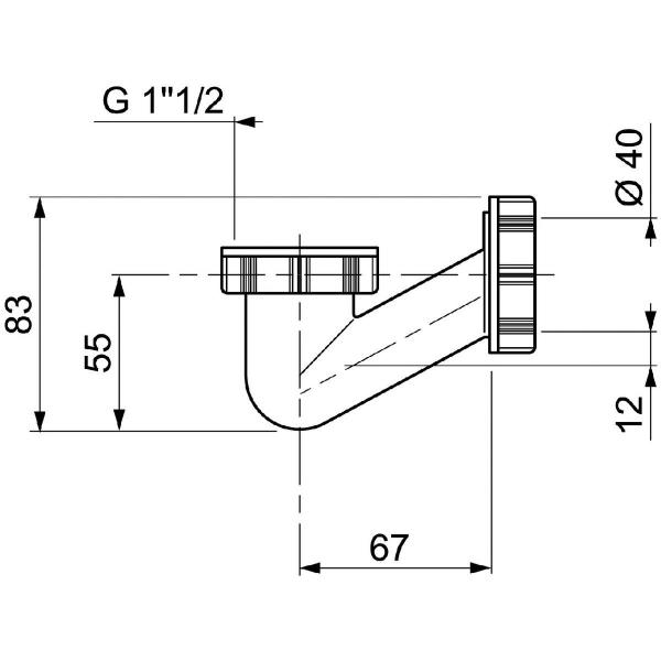 siphon de baignoire en v 1 1 2 40 mm wirquin pro. Black Bedroom Furniture Sets. Home Design Ideas